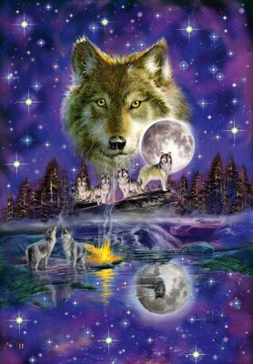 Puzzle 1000 Wolf in the moonlight